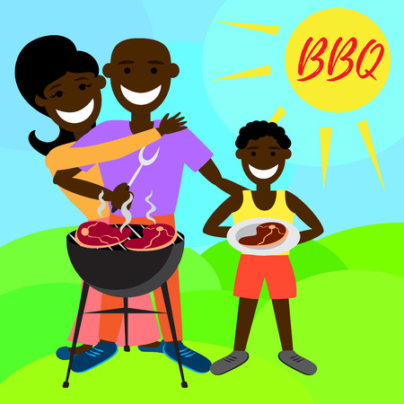 african american family: BBQ party with family and kebab, steak, grill. African american family. Illustration