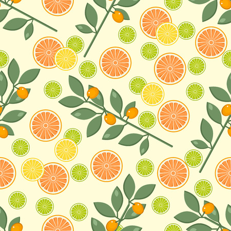 Fruit pattern on a yellow background with orange, lime and lemon.