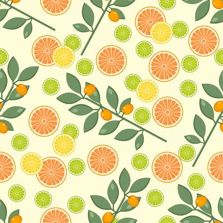 Fruitpatroon op een gele achtergrond met sinaasappel, kalk en citroen.