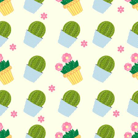 flowerpots: Cactus pattern background. Cute cacti, flowerpots. Seamless pattern with cute cacti.