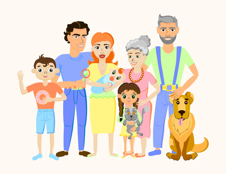 Cartoon happy family portrait with cat and dog Illustration