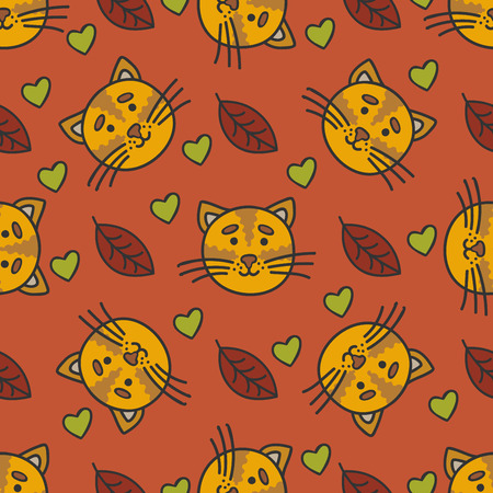 autumn cat: Doodle autumn pattern with cat, leaves and heart shape Illustration