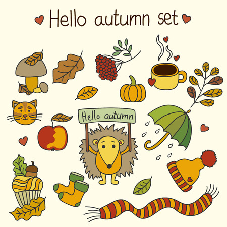 represent: Set of elements and items that represent autumn. Hello autumn.