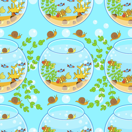fishbowl pattern with fish, snail and decorations. Aquarium pattern.
