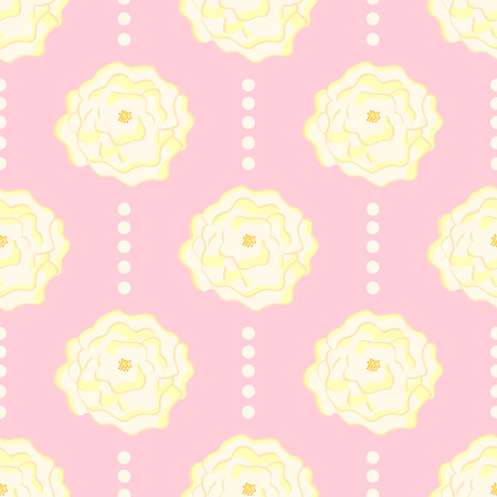 Seamless pattern with flowers on a pink background. Illustration