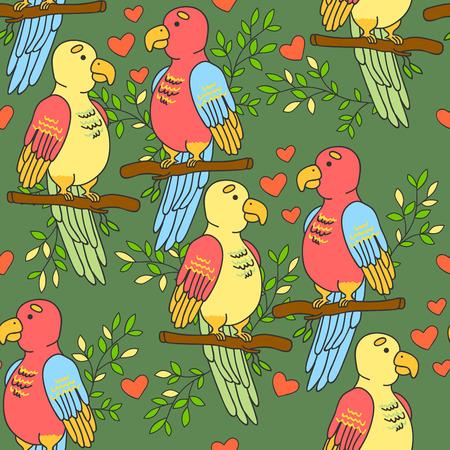 lovebirds: Lovebirds parrots pattern. Birds pattern with hearts on a green background. Illustration