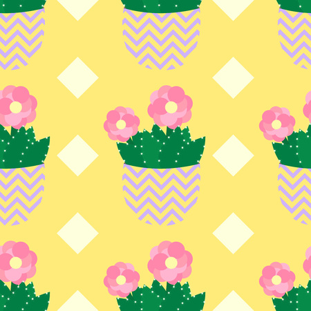 flowerpots: Seamless pattern with cactus and flowers in green and pink on pink background. Mexican cactus seamless print. Cute cacti, flowerpots. Illustration