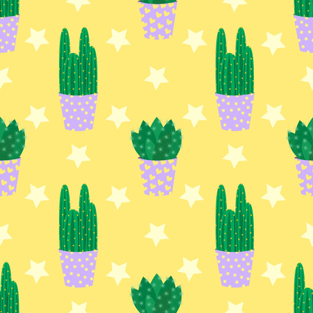 flowerpots: Cute cacti, flowerpots. Seamless pattern with cute cacti. Nature, spring. Cute vector illustration.