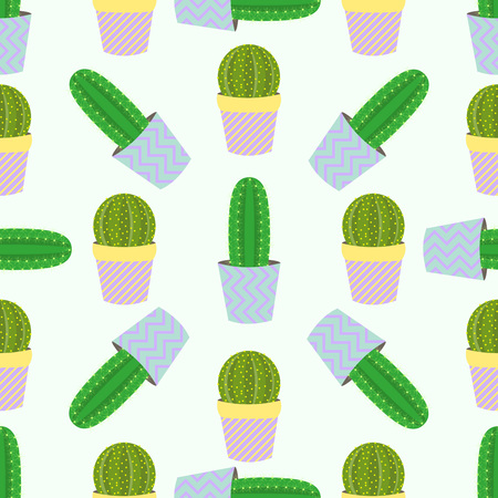 prickly pear: Cute cacti, flowerpots. Seamless pattern with cute cacti. Nature, spring. Cute illustration. Illustration