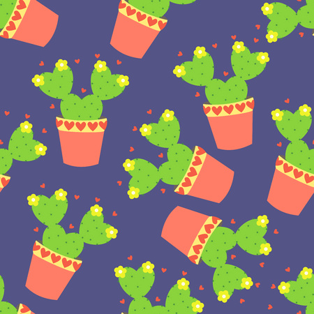flowerpots: Cute cacti, flowerpots. Seamless pattern with cute cacti. Nature, spring. Cute illustration. Illustration