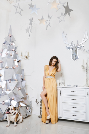 Sexy and fashionable long-legged model girl in the long gold dress posing with the French bulldog at interior decorated at Christmas style, New Year atmosphere