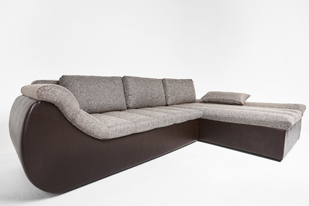 Grey and black modern luxury sofa isolated at white background