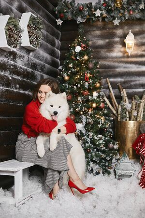 Happy model girl in a red cozy sweater and checkered pants hugging with cute snow white Samoyed dog at Christmas rustic interior. Beautiful young woman in modish outfit posing with a cute fluffy dog