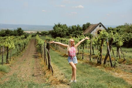 Young blonde woman posing in the vineyards in the summer season. Outdoor farmer countryside style