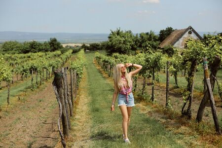 Blond model girl in denim shorts and sleeveless shirt enjoying a summer day in the vineyard. Young woman wearing in modern countryside style