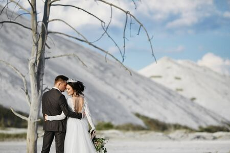 A stylish young man and a young woman in wedding outfits standing and hugging outdoors near the white mountains Standard-Bild