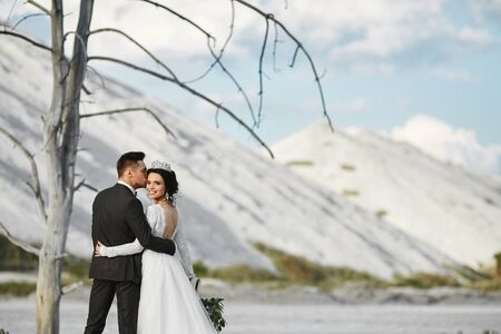 A stylish couple of newlyweds hugging and kissing outdoors over the beautiful landscape