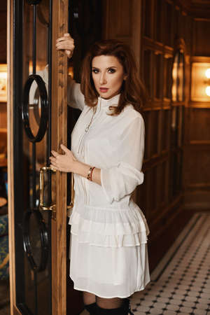 A young woman with perfect body in a cocktail dress leans on the vintage door in the luxury interior. Standard-Bild