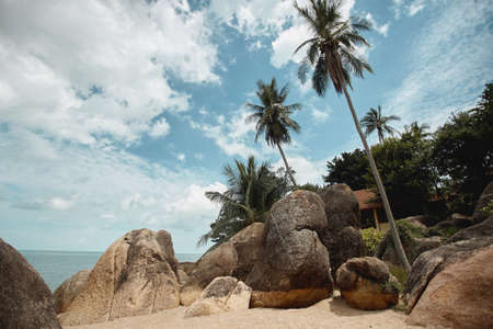 Tropical seacoast with coconut palms, huge stones, and gold sand, perspective view. Summer travel concept Foto de archivo
