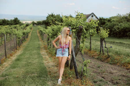 Young girl in denim shorts and sleeveless shirt posing in the vineyard on a summer day