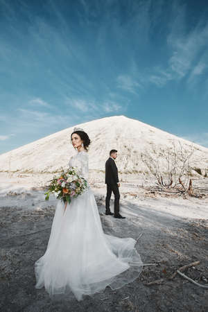 Young bride in a luxurious dress standing far from the handsome groom in stylish tuxedo outdoors over the beautiful landscape with mountains