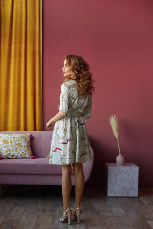 Slim model girl with perfect figure wearing trendy summer dress posing with her back in vintage interior 免版税图像