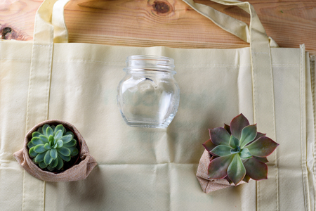 World free of plastic.Green products - bag made from bamboo or reuse, succulent and glass jar on nature wood background. 版權商用圖片