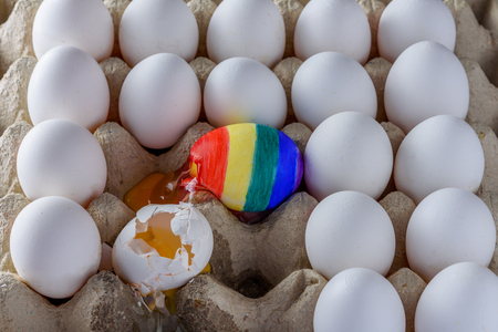 Two Broken eggs - white and with the colors of the LGBT flag surrounded of white other many eggs  in carton  box. Creative image International Day Against Homophobia concept. 写真素材