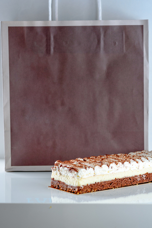Beautiful Delicious dessert cake. Paper eco package for baking and cooking Ingredient with copy space mockup for text.