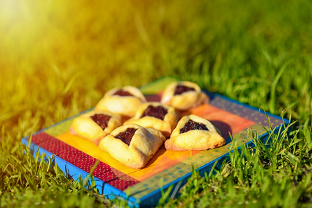 Spring picnic on the grass with homemade cookies on wooden board. Hamantaschen cookies or hamans ears for Purim celebration.Hamantaschen are sweet triangular pastries with a filling eaten on Purim.
