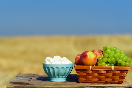 Cottage cheese, and first fruit basket on wooden table over meadow and sky background. Jewish holiday Shavuot celebration, harvest festival, healthy breakfast, happy sunny day moments concept.