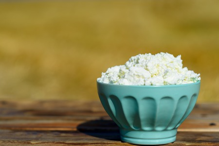 Bowl of homemade cottage cheese on wooden rustic table on gold wheat field background. Sunny day, vintage rustic atmosphere. 版權商用圖片