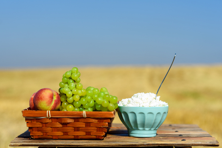 Shavuot: Festival of First Fruits habikkurim. Grapes and peaches on basket outdoor on the gold wheat field and blue sky background at sunny summer day.