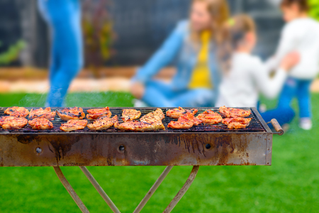 Dinner party, barbecue on back yard. Close-up on chicken fillet on a grill. At background happy kids play blurred.