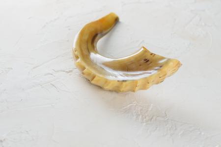 Shofar horn on white background. Shofar-Religious and Jewish Holidays Rosh Hashanah, Yom Kippur symbol. Stock Photo