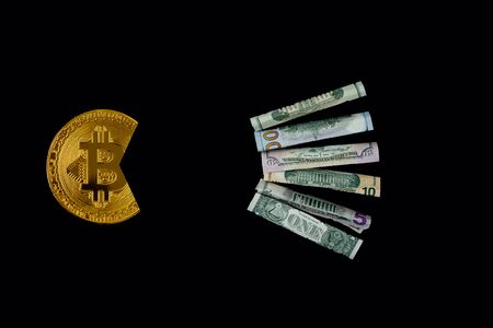 Bitcoin eating dollar symbol of its economic power. For articles or publications : Bitcoin vs USD dollar, Cryptocurrency-Strong, Stable and Better Than Gold and other currencies. Copy space for text. 版權商用圖片 - 127681707