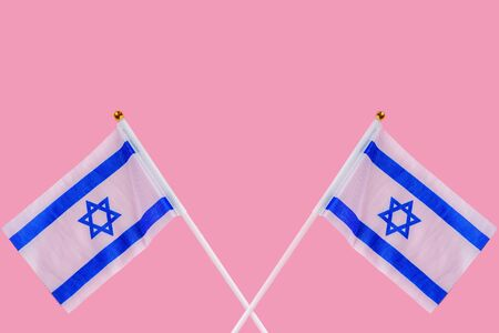 Two Israel Flags On Pink Background for Israel Holidays.