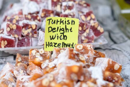 Turkish delight with hazelnut. Arabic sweets in the market. 写真素材
