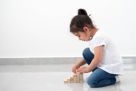 Cute child putting last block to the tower made of wooden blocks. Instilling leadership skills in children, development, education, growth,business success, early learning and achievement. Copy space. Reklamní fotografie