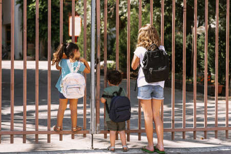 Happy diverse school children going to school outdoor at sunny day. Children near gate of closed school. Reklamní fotografie