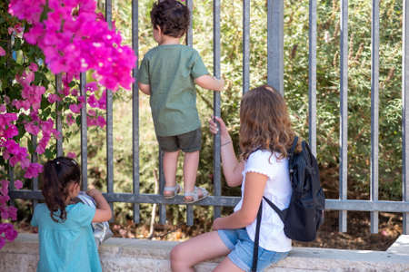 Little girls with blonde hair and black hair and toddler brother with curly hair look through a closed metallic fence. Diverse school children going to school.