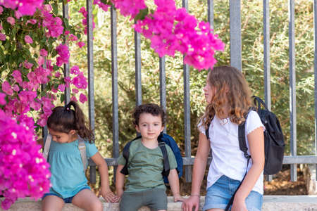 A Young Sisters And Funny Curly Toddler Brother Wait Outside A Closed School Fence.