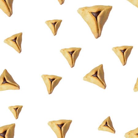 Seamless pattern Hamentashen, Ozen Haman, Purim cookie on white isolated background for Jewish holiday Purim.