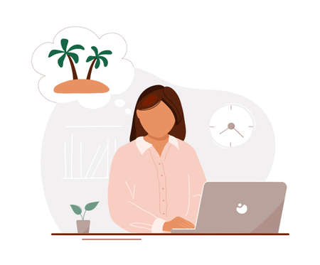 Young woman sitting in office at laptop and dreaming of vacation with tropical island in bubble over her head. Flat trendy hand drawn vector illustration. Isolated on white background.
