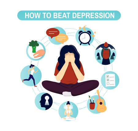 Depression natural treatment infographic concept. Flat modern trendy style.Vector illustration character icon. Isolated on white background. Nine ways to overcome depression.
