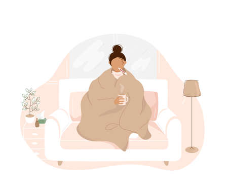 Sick woman with flu covered with warm blanket sitting on sofa , holding cup with hot tea in hand and taking temperature orally. Flat cartoon modern trendy style.Vector illustration character icon.
