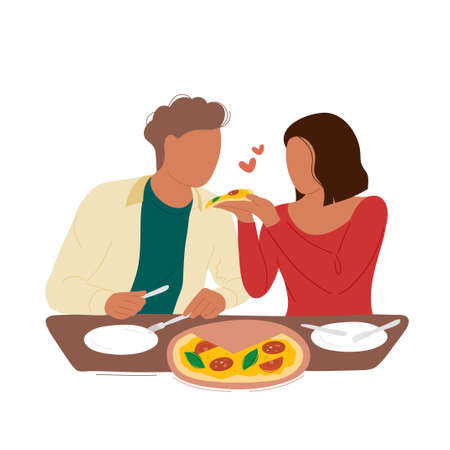 Woman feeding her boyfriend a slice of pizza in pizzeria. Flat trendy style.Vector illustration character icon.