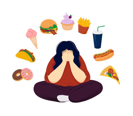 Young fat woman in depression sitting crosslegged covering her face with hands surrounded by fast food products. Flat modern trendy style.Vector illustration character icon. Food addiction concept.