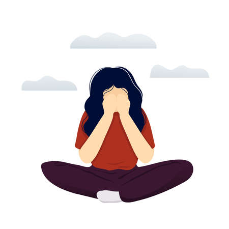 Young woman in depression sitting crosslegged with gray clouds over her head and covering her face with hands. Flat modern trendy style.Vector illustration character icon. Isolated on white background Vecteurs