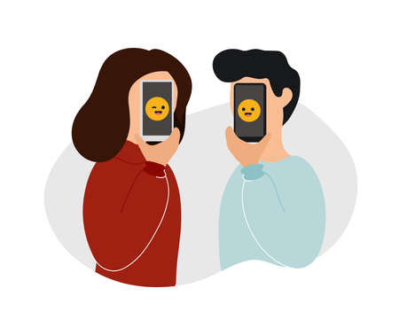 Woman and man holding phones in front of their faces with smiling and winking emoji on screens. Flat modern trendy style.Vector illustration character icon. Chatting, online dating concept.